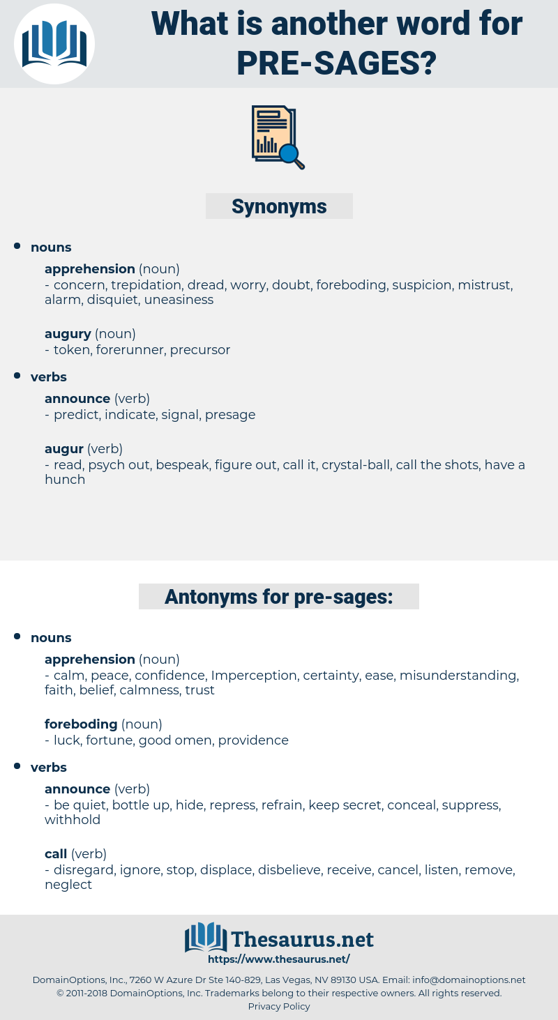 pre-sages, synonym pre-sages, another word for pre-sages, words like pre-sages, thesaurus pre-sages