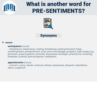 pre-sentiments, synonym pre-sentiments, another word for pre-sentiments, words like pre-sentiments, thesaurus pre-sentiments