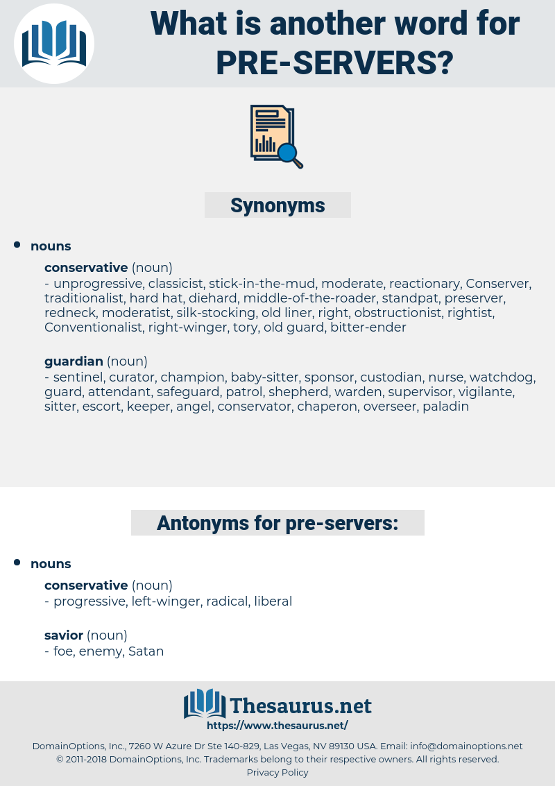 pre servers, synonym pre servers, another word for pre servers, words like pre servers, thesaurus pre servers