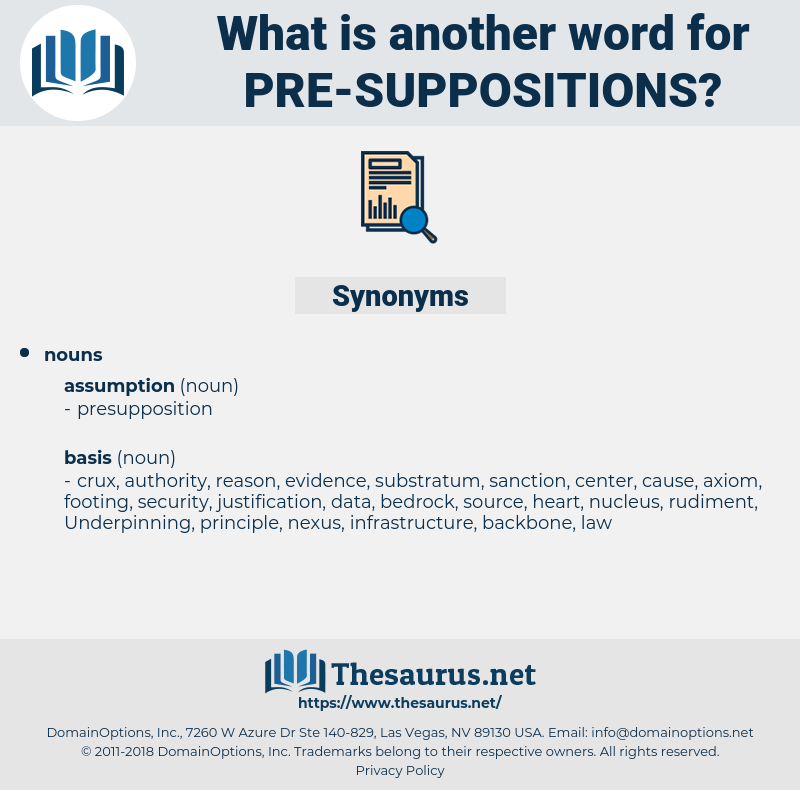 pre-suppositions, synonym pre-suppositions, another word for pre-suppositions, words like pre-suppositions, thesaurus pre-suppositions