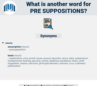 pre suppositions, synonym pre suppositions, another word for pre suppositions, words like pre suppositions, thesaurus pre suppositions