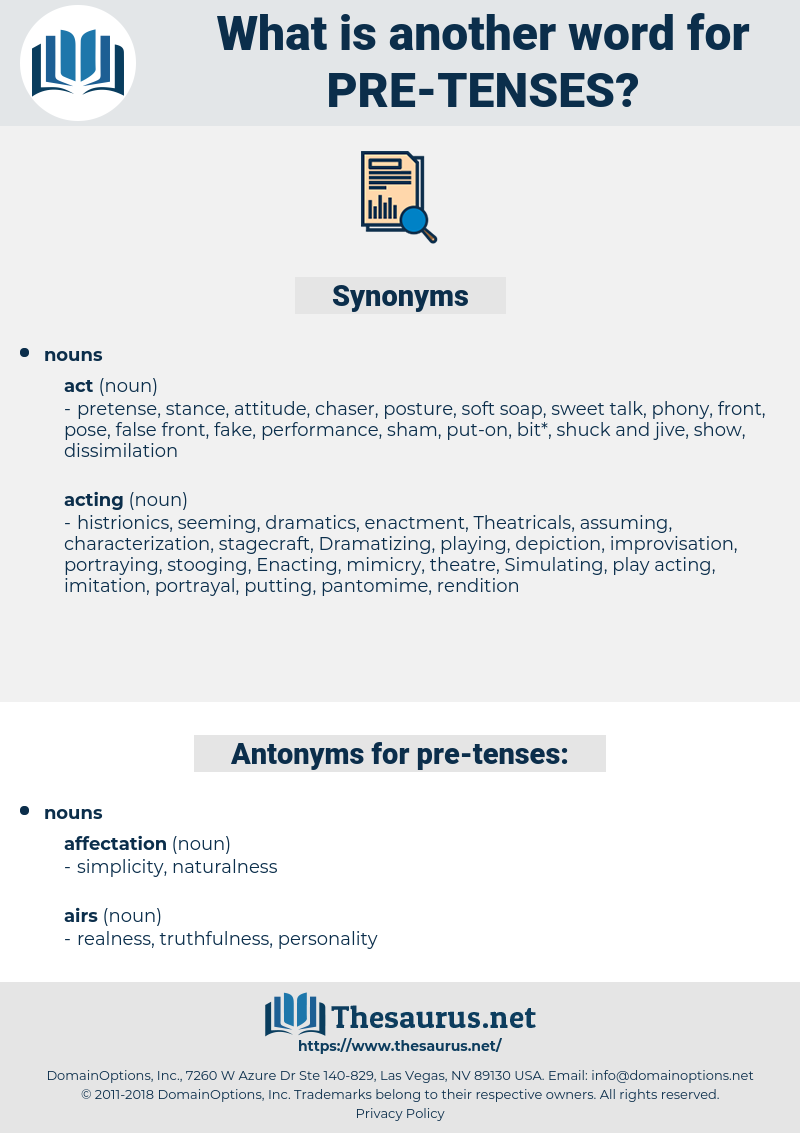 pre tenses, synonym pre tenses, another word for pre tenses, words like pre tenses, thesaurus pre tenses