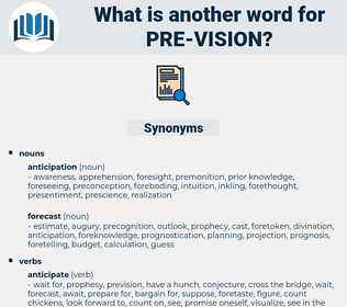 pre vision, synonym pre vision, another word for pre vision, words like pre vision, thesaurus pre vision