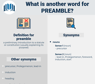 preamble, synonym preamble, another word for preamble, words like preamble, thesaurus preamble