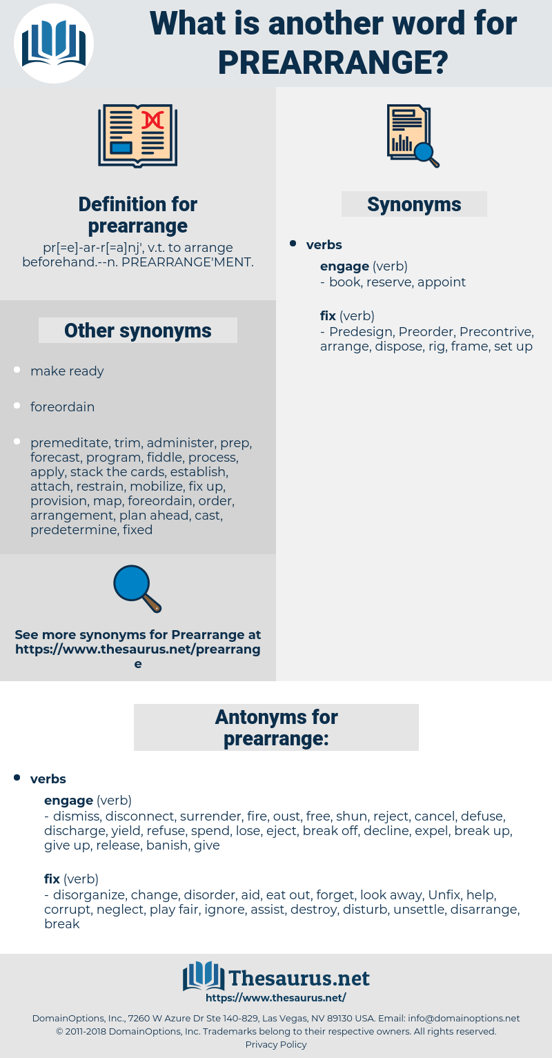 prearrange, synonym prearrange, another word for prearrange, words like prearrange, thesaurus prearrange
