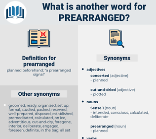 prearranged, synonym prearranged, another word for prearranged, words like prearranged, thesaurus prearranged