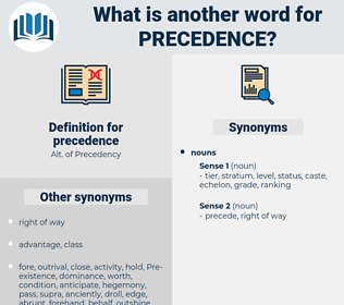 precedence, synonym precedence, another word for precedence, words like precedence, thesaurus precedence