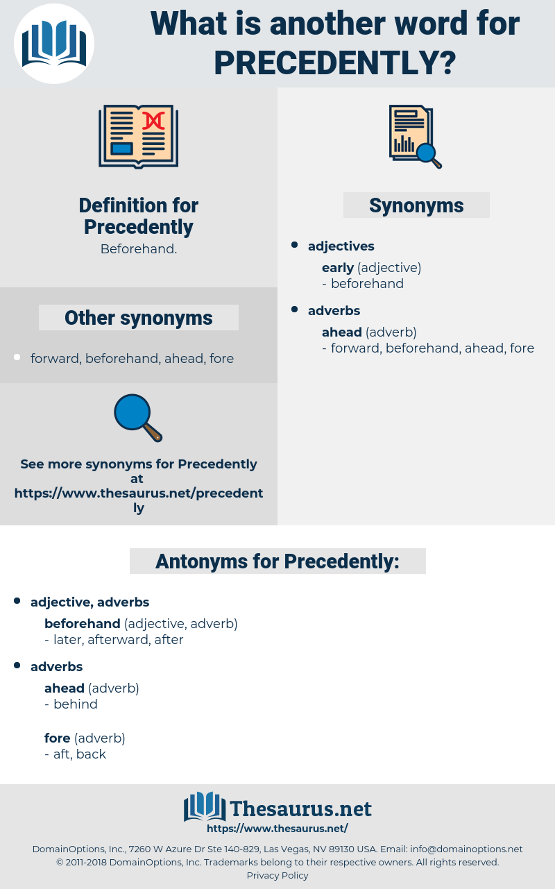 Precedently, synonym Precedently, another word for Precedently, words like Precedently, thesaurus Precedently