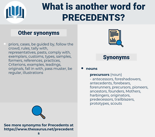 precedents, synonym precedents, another word for precedents, words like precedents, thesaurus precedents