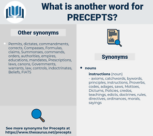 precepts, synonym precepts, another word for precepts, words like precepts, thesaurus precepts