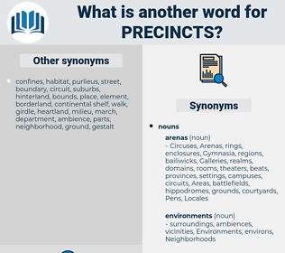precincts, synonym precincts, another word for precincts, words like precincts, thesaurus precincts