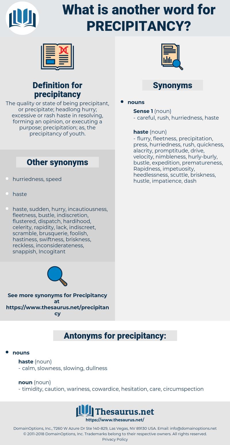 precipitancy, synonym precipitancy, another word for precipitancy, words like precipitancy, thesaurus precipitancy