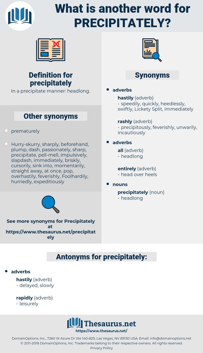 precipitately, synonym precipitately, another word for precipitately, words like precipitately, thesaurus precipitately