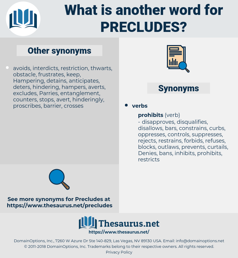 precludes, synonym precludes, another word for precludes, words like precludes, thesaurus precludes