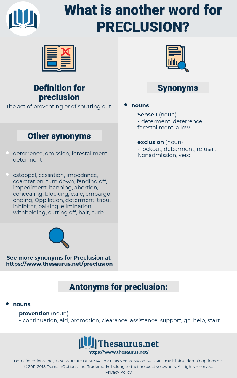 preclusion, synonym preclusion, another word for preclusion, words like preclusion, thesaurus preclusion