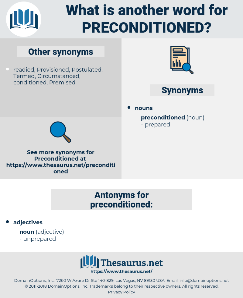preconditioned, synonym preconditioned, another word for preconditioned, words like preconditioned, thesaurus preconditioned