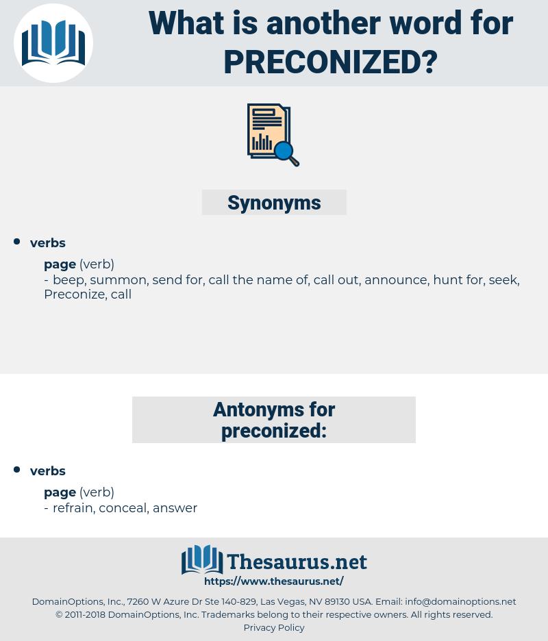 preconized, synonym preconized, another word for preconized, words like preconized, thesaurus preconized