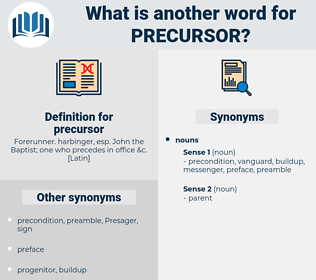 precursor, synonym precursor, another word for precursor, words like precursor, thesaurus precursor