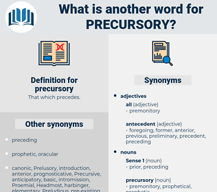 precursory, synonym precursory, another word for precursory, words like precursory, thesaurus precursory