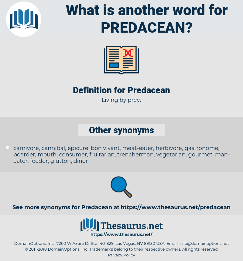 Predacean, synonym Predacean, another word for Predacean, words like Predacean, thesaurus Predacean