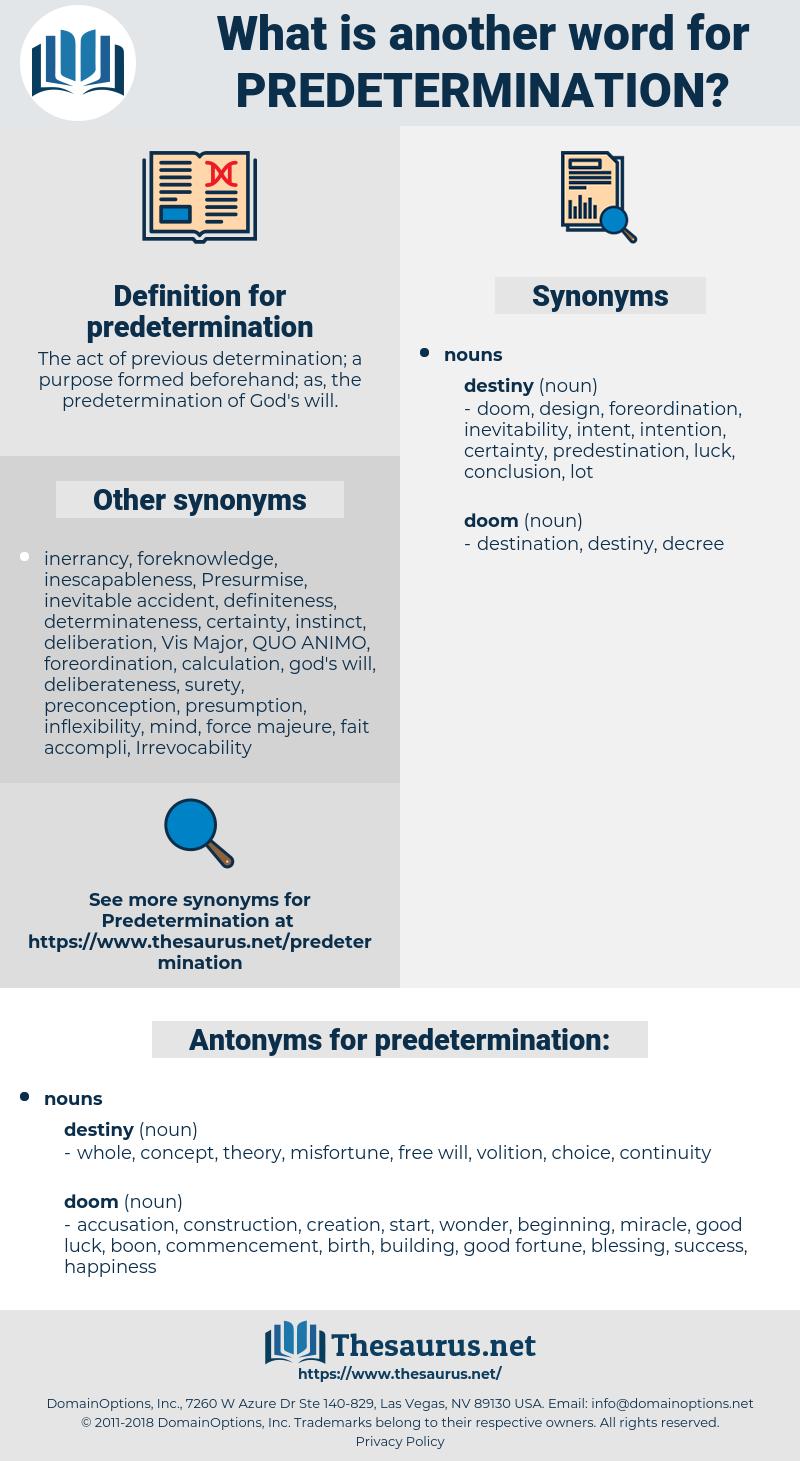 predetermination, synonym predetermination, another word for predetermination, words like predetermination, thesaurus predetermination