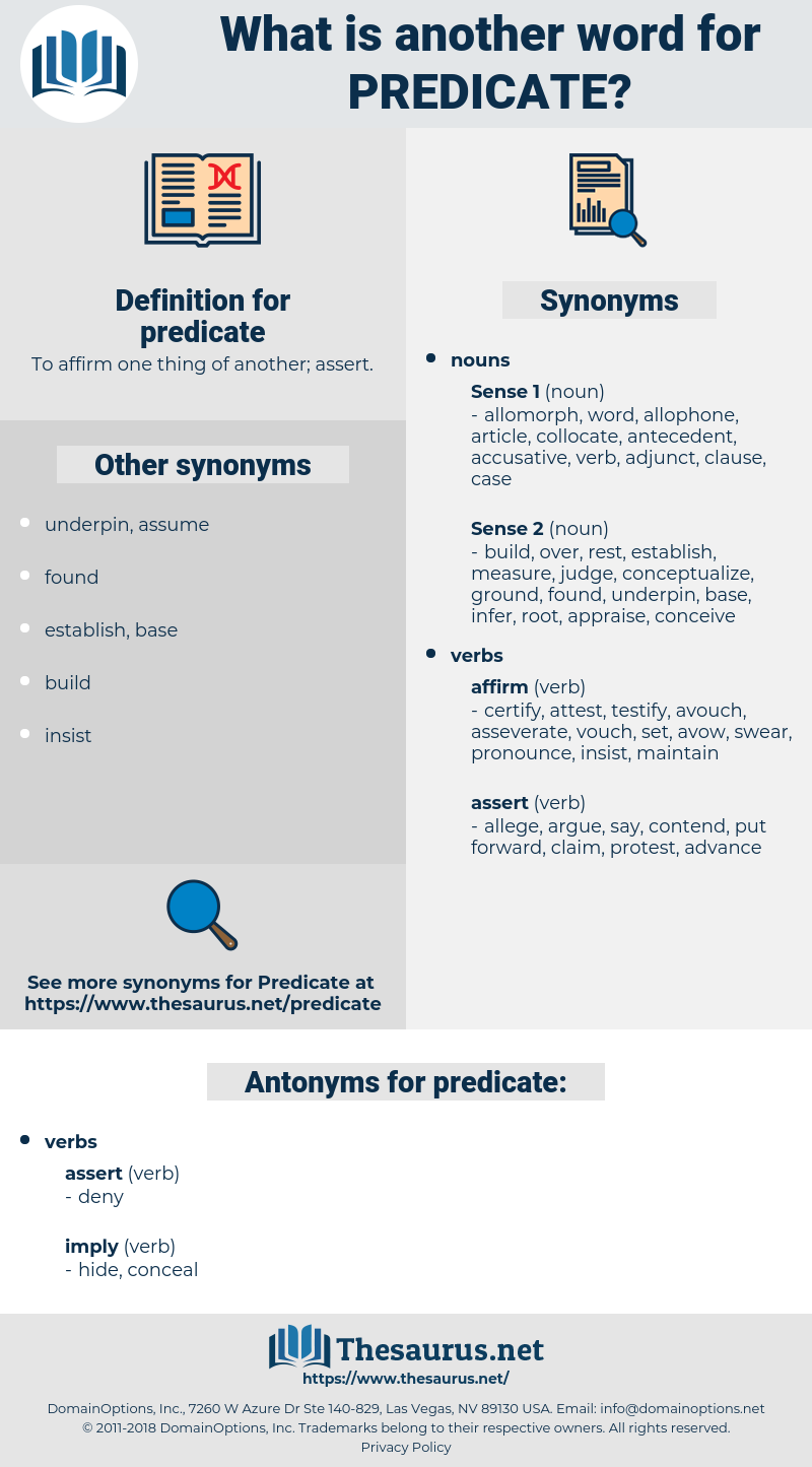 predicate, synonym predicate, another word for predicate, words like predicate, thesaurus predicate