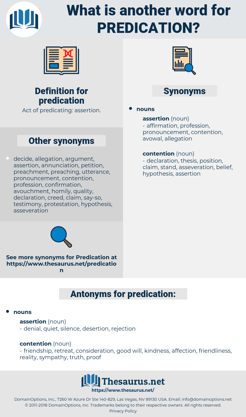 predication, synonym predication, another word for predication, words like predication, thesaurus predication