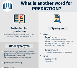 prediction, synonym prediction, another word for prediction, words like prediction, thesaurus prediction