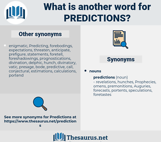 predictions, synonym predictions, another word for predictions, words like predictions, thesaurus predictions