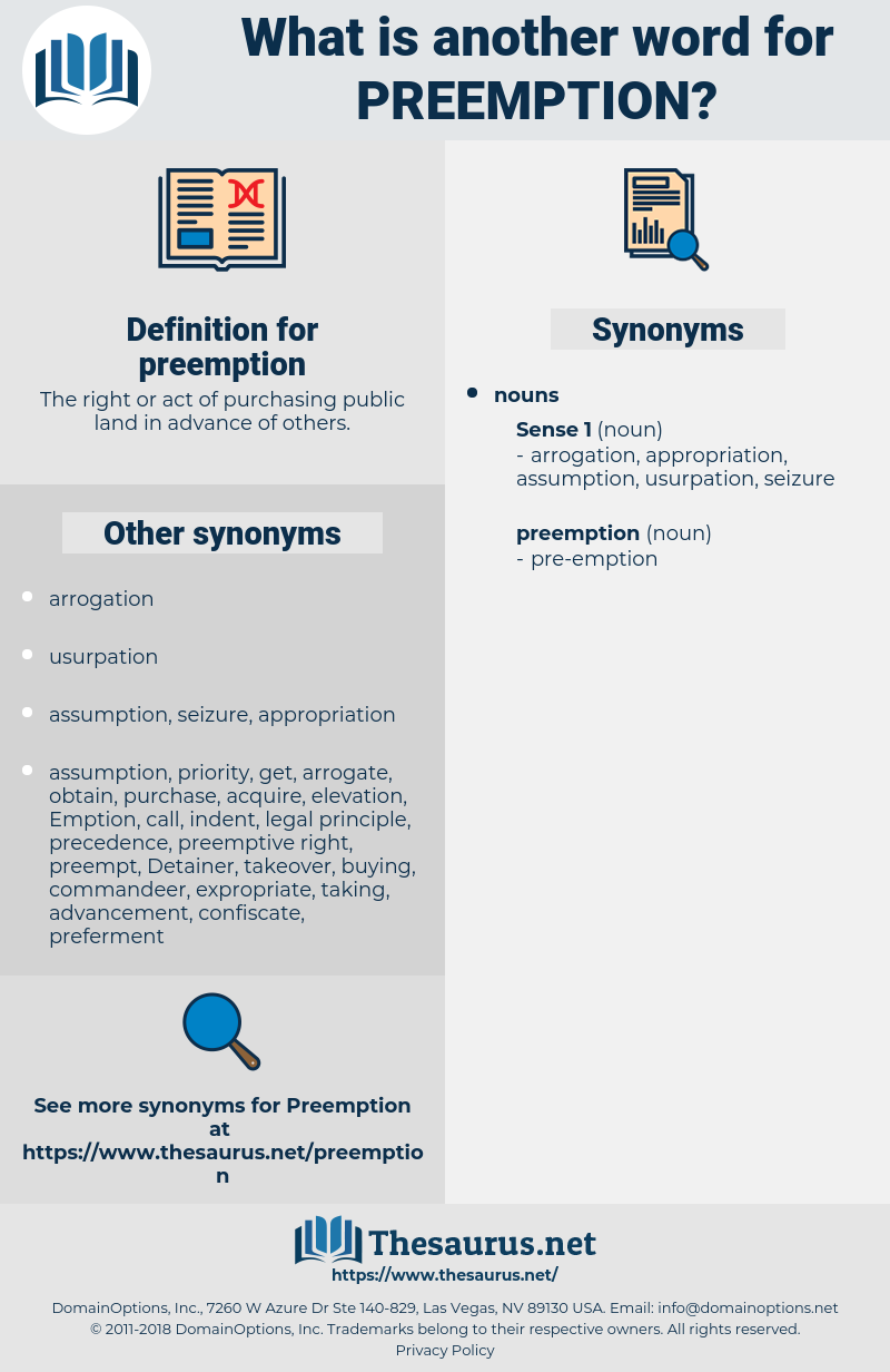preemption, synonym preemption, another word for preemption, words like preemption, thesaurus preemption