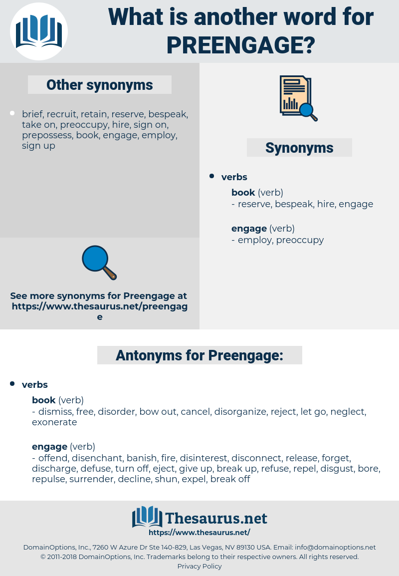 Preengage, synonym Preengage, another word for Preengage, words like Preengage, thesaurus Preengage