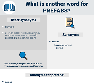 prefabs, synonym prefabs, another word for prefabs, words like prefabs, thesaurus prefabs