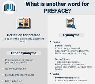 preface, synonym preface, another word for preface, words like preface, thesaurus preface