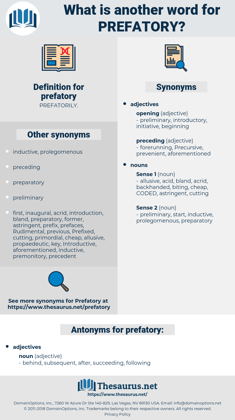 prefatory, synonym prefatory, another word for prefatory, words like prefatory, thesaurus prefatory