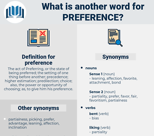 preference, synonym preference, another word for preference, words like preference, thesaurus preference