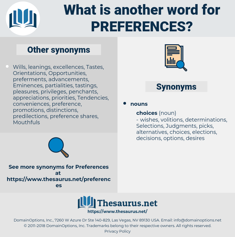 preferences, synonym preferences, another word for preferences, words like preferences, thesaurus preferences