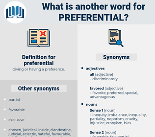 preferential, synonym preferential, another word for preferential, words like preferential, thesaurus preferential