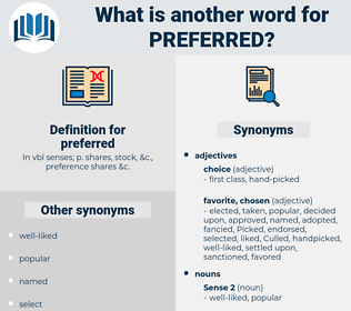 preferred, synonym preferred, another word for preferred, words like preferred, thesaurus preferred