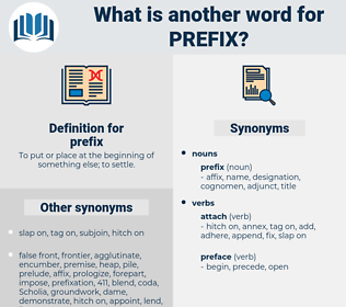 prefix, synonym prefix, another word for prefix, words like prefix, thesaurus prefix