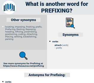 Prefixing, synonym Prefixing, another word for Prefixing, words like Prefixing, thesaurus Prefixing
