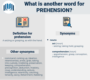 prehension, synonym prehension, another word for prehension, words like prehension, thesaurus prehension