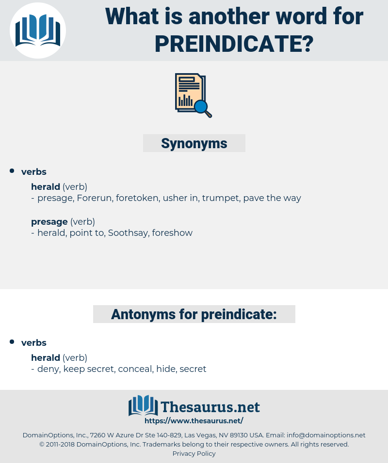 preindicate, synonym preindicate, another word for preindicate, words like preindicate, thesaurus preindicate