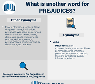 Prejudices, synonym Prejudices, another word for Prejudices, words like Prejudices, thesaurus Prejudices