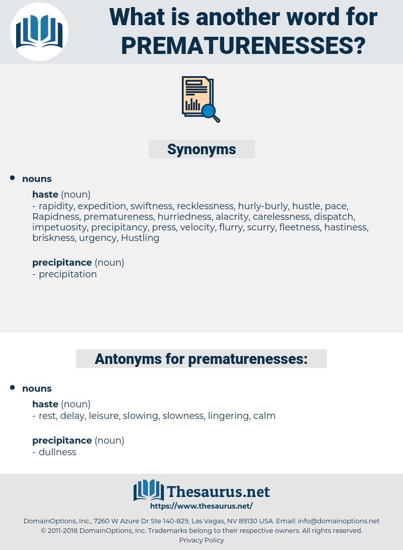 prematurenesses, synonym prematurenesses, another word for prematurenesses, words like prematurenesses, thesaurus prematurenesses