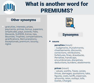 Premiums, synonym Premiums, another word for Premiums, words like Premiums, thesaurus Premiums