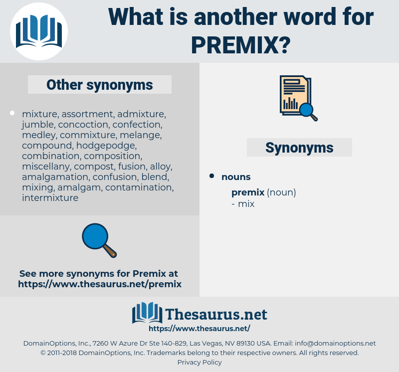 premix, synonym premix, another word for premix, words like premix, thesaurus premix