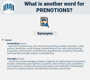 prenotions, synonym prenotions, another word for prenotions, words like prenotions, thesaurus prenotions
