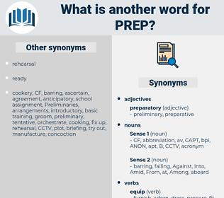 prep, synonym prep, another word for prep, words like prep, thesaurus prep