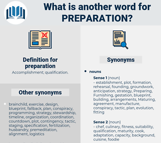 preparation, synonym preparation, another word for preparation, words like preparation, thesaurus preparation