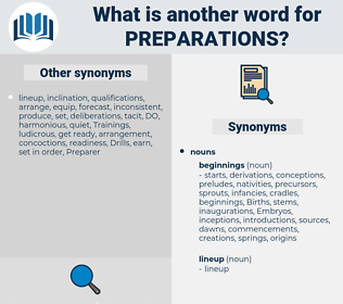 preparations, synonym preparations, another word for preparations, words like preparations, thesaurus preparations